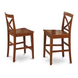 """East West Furniture - X in Back Stool with Wood Seat in Dark Brown Finish - Set of 2 - X-Back stool with wood seat in Dark Brown finish; The Pub Set has contemporary styling to complement any decor.; This dinette is ideal for a small kitchen or dining area.; It has durable construction with Asian solid wood, available in two lovely finishes -- oak or rich brown.; The counter-height stools feature attractive X-backs with a choice of wood seats or neutral-colored, upholstered seats.; Weight: 38 lbs; Dimensions: 18""""L x 17""""W x 41.5""""H"""