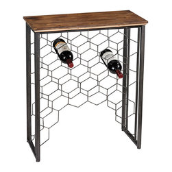 Sterling - Sterling 138-114 Wood And Metal Small Console With Wine Rack - Sterling 138-114 Wood And Metal Small Console With Wine Rack