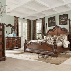 Ledelle Poster Bedroom Set with Tall Headboard Posts in Brown -