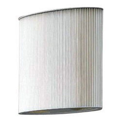 "ZERO - ZERO Mimmi Wall Sconce - The Mimmi wall sconce by Zero was designed by Pelikan and Copenhagen in 1999.  This contemporary wall sconce has a gray painted frame with a white polyester pleated shade.  This wall sconce will add a simple elegance to any room.  Product description: The Mimmi wall sconce by Zero was designed by Pelikan and Copenhagen in 1999.  This contemporary wall sconce has a gray painted frame with a white polyester pleated shade.  This wall sconce will add a simple elegance to any room.      Details:                         Manufacturer:                        Zero                                                 Designer:                        Pelikan and Copenhagen                                         Made in:                        Sweden                                         Dimensions:                        Height: 10.6"" (27 cm) X Width: 9.8"" (25 cm) X Extends from Wall: 4.1"" (10.5 cm)                                         Light bulb::                        1 X 40W E14 Candle base bulb                                         Material:                                                                                                            Steel, Polyester fabric"