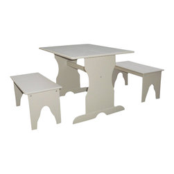 International Concepts - International Concepts Table with 2 Benches in Linen White - International Concepts - Kids' Table and Chair Sets - JT083027 - This three piece table and bench set is composed of durable solid wood. It includes one table, and two benches. Your kids are sure to enjoy this table set from International Concepts.