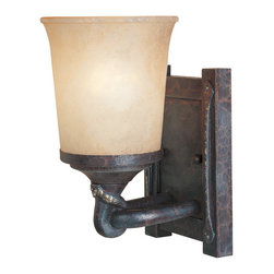 Designers Fountain - Designers Fountain 97301-WSD Wall Sconce - Weathered Saddle Finish, Satin Crepe Glass/Shade Handsomely styled ironwork and hand forged details display a casual rustic Spanish style.