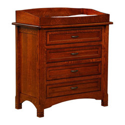 Chelsea Home Furniture - Chelsea Home Stratford 4-Drawer Dresser with Changing Table - The Stratford 4-Drawer Dresser with removable changing table, shown with White Quarter Sawn Oak and Michaels Cherry Stain, engages the same cultivated beauty, permanence and assembly expertise of all of our handmade solid wood products. The decorative embellishment along the top edge of the dresser gives just the right amount of detail to the linear paneling of the dovetail-drawer. Complete with full extension-Drawer slides, smooth metal hardware and premium finish, this piece is a sensible and traditional investment for any home. Remove the changing table when your child no longer needs it for added dresser top space. Changing table pad is also available for this item. Add this to your Bristol crib set to complete your child's bedroom! Chelsea Home Furniture proudly offers handcrafted American made heirloom quality furniture, custom made for you. What makes heirloom quality furniture? It's knowing how to turn a house into a home. It's clean lines, ingenuity and impeccable construction derived from solid woods, not veneers or printed finishes over composites or wood products _ the best nature has to offer. It's creating memories. It's ensuring the furniture you buy today will still be the same 100 years from now! Every piece of furniture in our collection is built by expert furniture artisans with a standard of superiority that is unmatched by mass-produced composite materials imported from Asia or produced domestically. This rare standard is evident through our use of the finest materials available, such as locally grown hardwoods of many varieties, and pine, which make our products durable and long lasting. Many pieces are signed by the craftsman that produces them, as these artisans are proud of the work they do! These American made pieces are built with mastery, using mortise-and-tenon joints that have been used by woodworkers for thousands of years. In addition, our craftsmen