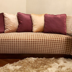 Semi Round Sofa - Custom made sofa in fabric with walnut base.