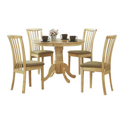 Monarch Specialties - Monarch Specialties 5 Piece 40 Inch Round Dining Room Set in Natural, Light Wood - Create a casual fashion statement in your dining area with this round pedestal dining table. This natural colored table features a waterfall profile and is anchored down by a sturdy turned pedestal base with scroll detailing. What's included: Dining Table (1), Side Chair (4).