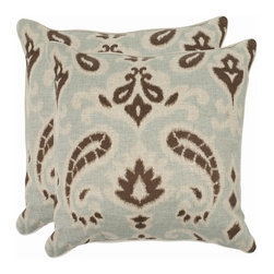 Safavieh - Safavieh Dylan Pillow (2) X-2TES-8181-D438LIP - Reminiscent of the calico designs imported from India famously printed in by French artisans in Provence, the baltic greypaisley motif of this accent pillow enlivens a soft and organic fabric of cotton and linen blend.