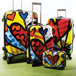"""""""Britto"""" Heart Luggage - Give the gift of a weekend getaway trip for you and your sweetheart and announce it by giving him or her this romantic set of Britto Heart Luggage.  Finding your luggage at the airport will be a breeze with luggage designed by world renowned pop artist, Romero Britto."""