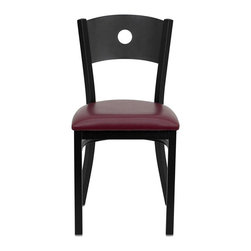 Flash Furniture - Flash Furniture Hercules Series Circle Back Metal Chair in Burgundy - Flash Furniture - Dining Chairs - XUDG60119CIRBURVGG - Provide your customers with the ultimate dining experience by offering great food service and attractive furnishings. This heavy duty commercial metal chair is ideal for Restaurants Hotels Bars Lounges and in the Home. Whether you are setting up a new facility or in need of a upgrade this attractive chair will complement any environment. This metal chair is lightweight and will make it easy to move around. For added comfort this chair is comfortably padded in vinyl upholstery. This easy to clean chair will complement any environment to fill the void in your decor. [XU-DG-60119-CIR-BURV-GG]