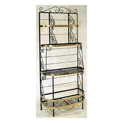 """Grace Manufacturing - 36 Inch French Bow Style Bakers Rack With Wire Shelves, Stone - Dimensions: 36""""wide x 15"""" x 83"""" Tall"""