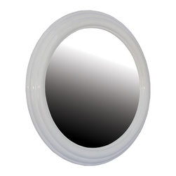 Renovators Supply - Mirrors White Porcelain Round Bathroom Mirror 21 1/2'' Dia | 16685 - Round Mirror creates the grand illusion of space. Perfect for the bath- bedroom- hall or living room. Measures 21 1/2 inches dia.
