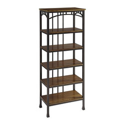 HomeStyles - Modern Craftsman Six Tier Shelf - Reminiscent of the American Craftsman Era with understated style and simplicity, the Modern Craftsman Six Tier Shelf is constructed of brown powder-coated metal accented with gold highlighting, and distressed oak veneer shelves. This multifaceted storage shelf will meet all your storage needs, and will complement any bathroom. This shelf is equipped with four 20.75 inches wide by 7.75 inches deep fixed shelves. Other features include levelers on the feet for added stability. Assembly required. 24 in. W x 14 in. D x 60.25 in. H