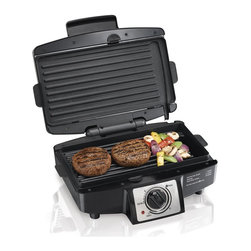 HamiltonBeach - Easy-Clean Indoor Grill - Dishwasher safe removable grids. Nonstick surface opens flat to 110 sq.in. grill. Select timer or stay on. Brushed stainless steel accents. Cooks most meals in 10 minutes or less. Total wattage: 1200 W. Warranty: One year limitedThe Easy-Clean Indoor Grill is made for easy cleanup in the dishwasher. With removable, nonstick cooking grids that go right in the dishwasher for easy cleanup, the grill cooks most meals in 10 minutes or less. Built with ease in mind, convenient features such as electronic controls and indicator lights and powerful heating elements that reach searing temperatures to achieve meats perfect doneness, the grill has what it takes to bring out meats best flavor.