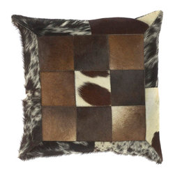 "Surya PMH119-1818P 100% Leather 18"" x 18"" Decorative Pillow - This pillow brings a western feel to any room with its animal hide design. Colors of espresso, brown, ecru, and black accent this decorative pillow. This pillow contains a poly fill and a zipper closure. Add this 18"" x 18"" pillow to your collection today. Filler: Poly Fiber. Shape: Square"