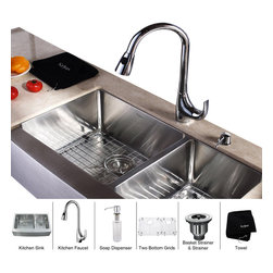 Kraus - Kraus 33 inch Farmhouse Double Bowl Stainless Steel Kitchen Sink with Chrome Kit - *Add an elegant touch to your kitchen with unique Kraus kitchen combo