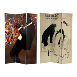 "Oriental Unlimted - Double Sided 6 ft. Billie Holiday Privacy Scr - One double-sided divider, both sides shown in image. Wood frame covered in durable canvas. Wonderful music and art inspired decorative screen. Blocks light and provides privacy. Perfect for many uses such as a folding privacy screen, portable room partition, or focal point of a room. 15.88 in. W x 71 in. H (per panel)The main image on this stunning screen features the Billie Holiday record cover ""Jazz at the Philharmonic"" as drawn by David Stone Martin, one of the most prolific and significant graphic designers of the postwar era. The opposite side features an abstract painting of a silhouette of a jazz man blowing his heart out, with Jackson Pollack like colorful splatter obscuring the instrument. If your tastes tend toward the unique, interesting, and distinctive, or if you love jazz, this folding floor screen may end up being one of your most prized decorative accessories for years to come."