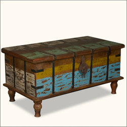 Speckled Paint Reclaimed Wood Standing Coffee Table Chest -
