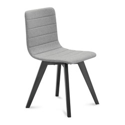 DomItalia Furniture - Flexa/LX Side Chair in Anthracite / Light Grey Wool (Set of 2) - Simple in design, this chair draws attention to the details. The Domitalia Flexa/LX Side Chair in Anthracite (Set of 2) enhances a wide range of modern interior designs. A fully upholstered seat boasts a quilted design, wrapping the wool covered shell in horizontal lines. The clean lines and natural finish offers a dynamic contrast to the gray seat upholstery. Sold as a Set of 2.