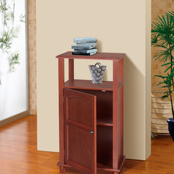 None - Lindo 1-Door Floor Cabinet - This wooden bathroom floor cabinet has a weathered walnut finish and is perfect for storing toiletries and extra cleaning supplies inside its one drawer. The cabinet features a top shelf for displaying candles or other bathroom decor.