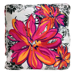 koi Design - Sunburst Pillow Throw - By day, this hand-embroidered throw pillow will brighten your couch with its bold pink and yellow blossoms; by night, it unfolds into a luxurious throw blanket to keep you cozy with your book or movie. The throw is plenty good looking itself, one side bursting with passionate red and violet swirls and the other featuring a contrasting black and white floral print, giving you plenty of decorating options.