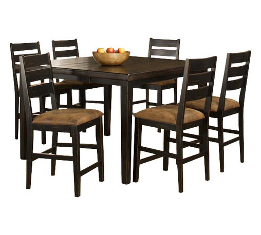 Hillsdale Furniture - 7-Piece Counter Height Dining with Ladder Bac - Includes table and 6 chairs. On-trend counter height square top table. Four accompanying ladderback dining chairs, each accented with a seat cushions in a soft, neutral microfiber with an aged leather aesthetic. Some assembly required. . 54 in. W x 54 in. D x 42 in. H (257.5 lbs.)