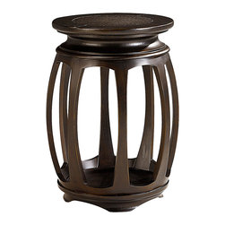 Hammary - Hammary Chow Round End Table in Rub Through Black - Round End Table in Rub Through Black belongs to Chow collection by Hammary The Chow Round End Table - 107-916 is a piece of art in itself with its sharp lines, rubbed black finish, and Asian inspired silhouette. If contemporary furniture is what you want, then the Chow Round End Table - 107-916 is for you. This Asian inspired collection features elements of Chinese/Japanese culture throughout its design. From geometric screen details, dramatic curved legs to the dark, modern Black Rubbed finish itself this collection exudes contemporary living.