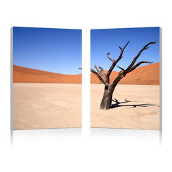Baxton Studio - Baxton Studio Desert Solitude Mounted Photography Print Diptych - As a testament to the difficult life desert-dwellers lead, a single tree stands in this stretch of desert, its dried out branches long-deprived of any sign of life. This compelling photograph is made in China with two separate sheets of waterproof vinyl canvas, which are then mounted to MDF frames. The Desert Solitude Modern Wall Art Set is fully assembled and ready to hang, though mounting hardware is not included with purchase. To clean, wipe the frames with a dry cloth.