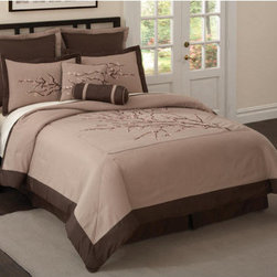 PEM America - Zen Blossom Comforter Set with Four Bonus Pieces - The Zen Blossom comforter set has an earthy, natural colored feel, with a taupe face framed by a deep mocha brown. The face exhibits a large scale embroidered cherry blossom tree limb with budding blossoms carefully placed throughout in soft pinks and whites. The Zen Blossom comforter set will produce a calm and relaxing atmosphere to your bedroom dcor. Features: -Set includes comforter, two pillow shams and bed skirt. -Filled with 100% hypoallergenic polyester. -Also included two European shams and two decorative pillows. -Earthy, natural colored feel, with a taupe face framed by a deep mocha brown. -Large scale embroidered cherry blossom tree limb with budding blossoms carefully placed throughout in soft pinks and whites. -Will produce a calm and relaxing atmosphere to your bedroom dcor.