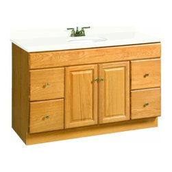 DHI-Corp - Claremont Honey Oak Vanity Cabinet with 2-Doors and 4-Drawers - The Design House 531491 Claremont Honey Oak Vanity Cabinet features a honey oak finish with antique brass hardware. Perfect for a shabby chic or vintage inspired bathroom, this vanity has clean lines and concealed hinges. The 2-door, 4-drawer construction gives you plenty of storage to keep your countertop free of clutter. Measuring 48-inches by 21-inches by 31.5-inches, this vanity can fit into a medium to larger sized bathroom. The frameless design provides ample storage and accessibility to store toiletries for the entire family. Modern construction meshes with subtle vintage details for an elegant addition to your bathroom. This product is perfect for remodeling your bathroom and matches granite countertops and colored walls. Vanity top is not included with this product. This vanity comes with cam-lock connectors for fast and easy assembly. The Design House 531491 Claremont Honey Oak Vanity Cabinet has a 1-year limited warranty that protects against defects in materials and workmanship. Design House offers products in multiple home decor categories including lighting, ceiling fans, hardware and plumbing products. With years of hands-on experience, Design House understands every aspect of the home decor industry, and devotes itself to providing quality products across the home decor spectrum. Providing value to their customers, Design House uses industry leading merchandising solutions and innovative programs. Design House is committed to providing high quality products for your home improvement projects.