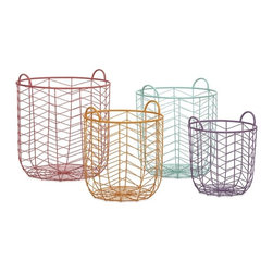 """IMAX - Maya Metal Baskets - Set of 4 - This set of four metal baskets are formed with iron wire in a classic chevron pattern. With their cheerful pastel palette, these baskets are a functional way to bring a pop of color into your room. Item Dimensions: (14-16.25-18.25-20.25""""h x 12.25-14-16-18""""w x 12.25-14-16-18"""""""