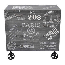 Pre-owned Paris Theme Chest of Drawers - Paris 4 draw chest on vintage inspired casters with weathered lettering on distressed and hand finished wood with nicks and imperfections enhancing its one of a kind character. Natural variations in color are to be expected. Two are available. Please contact support@chairish.com if you're interested in buying the pair.