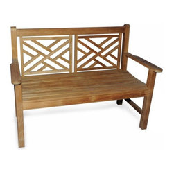 Teak Chippendale Bench - Polo is a hard game to just pick up and the insurance on a vintage Jag can be prohibitive but the Teak Chippendale Bench is an ideal way to bring a touch of classic English style to your garden or patio. Having a body of solid kiln-dried teak will let your bench resist the elements and maintain its shape and style over the years. Mortise-and-tenon joints add strength to the body which is available in 4 and 5-foot versions.About Regal TeakRegal Teak provides their customers with the finest teak furniture available today. Every piece of lumber they use is sustainably harvested from plantations in Indonesia and kiln-dried. Regal Teak pride themselves on using traditional methods of construction and craftsmanship with the highest quality materials in a manner that is responsive to their customers' needs and environmentally responsible. Using this approach Regal Teak produces a full line of tables chairs benches lounges and storage furniture.