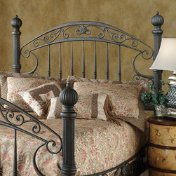 Hillsdale - Chesapeake Metal Headboard - Substantial and powerful, the Chesapeake bed headboard combines both delicate scrollwork and finials to creat an effect that is grand and elegant. Its most eye-catching features includes a versatile rustic old brown finish. Features: -Chesapeake collection. -Fully welded construction. -Foundry-poured aluminum castings. -Heavy gauge tubing. -Solid bar wire.