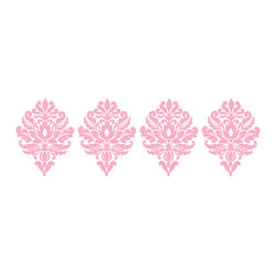 """WallPops - Patchwork Daisy Dots Wall Decal - On-trend pink, purple, and aqua flowers bring your child's walls to life, as if their decor were inspired by a garden party. The pink dots decals add a darling damask design to walls. Patchwork daisy is an adorable girls' decor idea. Dots come with four 13"""" damask pieces. WallPops are repositionable and always removable."""