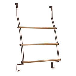 Bamboo Over-the-Door Towel Rack - Not the usual stainless steel finish, this over-the-door towel rack is made from eco-friendly bamboo and dark metal wire. A more natural look, especially if you have a more earthy bathroom overall.