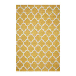 """Grandin Road - Quincy Area Rug - Soft, durable geometric-patterned rug. Hand-hooked, machine-finished, looped construction. 100% polyester. Low profile at 1/4"""" thick. Extend the life of your rug with a nonslip rug grip (sold separately). Lively in color and pattern, our bold and cheerful Quincy area rug features a borderless, geometric pattern inspired by Moroccan fretwork. Select from three colors; all feature a colorful ground with an ivory design, so they blend beautifully with bold and neutral color palettes alike.. . . . . Imported."""