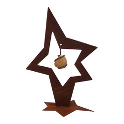 Z Garden Party - Rock Star Small - Our Rock Star Sculpture features a star within a star with a star base and a hand wrapped rock hanging in the center. It is cut from heavy rusted steel and the rock was gathered from the Merced river below Yosemite. It is created by California artist Susan Regert and made in the USA.