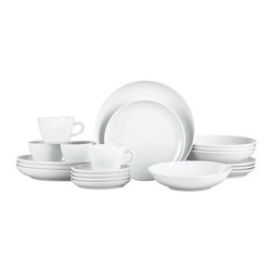 Madison 20-Piece Dinnerware Set - Clean, contemporary design in pristine white porcelain is highly versatile for dining and entertaining. This stylish, affordable dinnerware in a wide variety of shapes is sophisticated yet fun with asymmetrical edges on dinner, salad, low bowl and platters.