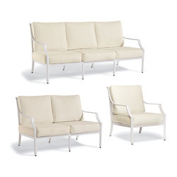 Frontgate - Grayson 3-pc. Outdoor Sofa Set in White Finish, Patio Furniture - Crafted of 100% ingot aluminum. Solid cast back details. Sofa, Loveseat, and Lounge Chair arrive with plush, all-weather back and seat cushions. Cushions are constructed of a high-resiliency foam core with soft polyester wrap. Finished with 100% solution dyed fabric covers that resist mold, mildew and fading. The perfect garden party. That's what Grayson calls to mind. This timeless seating collection is elegant without being fussy, with a high lattice back and airy design that are achieved in solid cast aluminum. Made to endure season after season with hand-filed welds, a durable powder coated finish and all-weather cushions.  .  .  .  .  . Seating includes adjustable foot glides . Glossy White Finish . Designed exclusively for Frontgate . Imported.