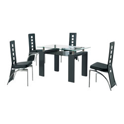 American Eagle Furniture - 233DT & 104CH Glass Table With Black Vinyl Chairs 5 Piece Dining Set - The 233DT & 104CH dining set is a great addition for any dining room that needs a touch modern design. The dining table has a glass table top with a two tier design. The main table top comes in a square clear glass look with the lower tier in a black tinted glass. The frame of the table features stainless steel spacers that connect the main table top to the black finished wooden legs. The chairs come upholstered in a stunning black vinyl material with high density foam placed within the cushion for added comfort. The chairs have a unique open square design on the back that adds to the overall look. The frame of the chairs are crafted from polished stainless steel with the backrests extending down to the legs. The dining set consist of a dining table and four chairs only.