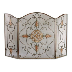 """Uttermost - Egan 3 Panel Wrought Iron Fireplace Screen - This attractive fireplace screen is the perfect finishing touch to a fireplace. Features: -Wrought iron.-Dark brown basecoat covered with a semi-transparent dark gray wash and a tan glaze.-Distressed: No.-Number of Screen Panels: 3.-Collection: Egan.-Indoor or Outdoor Use: No.-Scratch Resistant: No.-Heat Resistant: Yes.-Weather Resistant or Weatherproof: No.-Programmable: No.-Folding Screen Panels: Yes.-Doors: No.-Swatch Available: No.-Commercial Use: No.-Product Care: Wipe clean with a dry cloth.Dimensions: -Overall Product Weight: 25 lbs.-Overall Depth - Front to Back: 0.5"""".Assembly: -Additional Parts Required: No."""