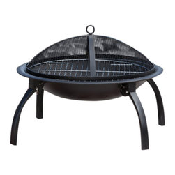 """Fire Sense - Fire Sense 60873 Wood Burning 22"""" Folding Fire Pit - Our folding fire pit features 22"""" heat resistant painted steel fire bowl and folding legs for easy portability. This fire pit comes complete with heat resistant mesh fire screen, a wood grate and cooking grate. Also included is a carrying bag and screen lift tool."""