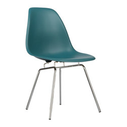 Classroom Slope Chair in Teal - Our Classroom Slope Chair puts a new spin on one of our most iconic designs. Featuring the same smooth polypropylene seat as our Mid-Century Slope Chair, this modern perch swaps out the dowel legs for simple, straight chrome. The traditional base reminds us of chairs you might find in a classroom. The chairs radiate a certain nostalgic charm. The Classroom Slope Chair was inspired by a manufacturing process of the mid-20th century, born from technological advancements that allowed a chair to be constructed out of a single mold. With the original no longer in production, today's designers have improved the process even further, resulting in a comfortable, stylish lightweight chair. We see this chair fitting in at home, in the office, or of course in a classroom setting. Available in a variety of vibrant colors, use it to add a spark of personality and style to your room of choice today.