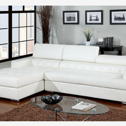 F Modern White Leather Sectional Sofa Couch Right Chiase Adjustable Rest - The contemporary shape and style of this sectional will enhance any space with its bonded leather match seating with button tufting and built-in chaise.