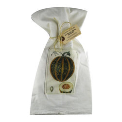 Pumpkin    Flour Sack Towel Set of 2 - A fabulous set of 3 flour sack towels. This set features a wonderful antique botanical fruit print of Pumpkin.   These towels are printed in the USA by American Workers!