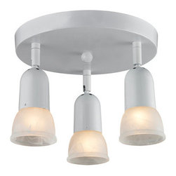 Z-Lite - Z-Lite 222 Pria Three-Light Flush Mount Ceiling Fixture - The Pria family�s clean lines will not only blend in with modern and traditional styling, but also they are very versatile. These 3 Light Semi Flush Mount Light can accommodate any room or closet. The individual lights are directional. The white swirl shades are paired with white finish.Specifications: