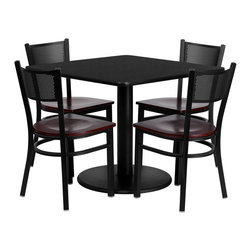 Flash Furniture - Flash Furniture 36 Inch Square Black Laminate Table Set - 36'' square black Laminate table set with 4 Grid back metal chairs - mahogany wood seat [MD-0008-GG]