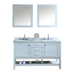 "Ariel - Bayhill 60"" Double-Sink Bathroom Vanity Set - Simple. Modern. Timeless. These are the words most often associated with our Bayhill collection.  The cloud grey finish on this 60"" vanity is stunning and pairs marvelously with the white carrera marble countertop.  Two doors and three sliding drawers provide generous storage space for all your bathroom essentials. Two doors with soft-closing hinges Three drawers with soft-closing sliders White carrera marble countertop (1"" edge) w/matching backsplash design.  All marble tops are finished by hand, pre-drilled for all 8"" widespread faucets, and double-sealed for scratch-resistance and long-term durability 2 cUPC-certified rectangular undermount sinks Color: Cloud Grey 2 Matching wood-framed 39.4""W x 31.5""H mirror included Vanity Dimensions: 60""L x 22""W x 34.6""H"
