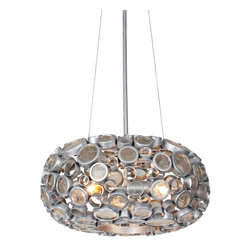 """Varaluz - Contemporary Varaluz Fascination Nevada 18"""" Reclaimed Glass Chandelier - This contemporary eco-friendly open-bottom reclaimed glass chandelier from Varaluz lives up to its name. The Fascination collection features 70% or greater hand-forged recycled steel in its frame of various size circles. The circles are filled with the warm hues of reclaimed amber bottle glass. As the colored glass scatters and diffuses the light it glistens on the low-VOC (volatile organic compound) silvery Nevada finish of the steel frame and canopy. A gorgeous environmentally conscious design from Varaluz. Reclaimed amber bottle glass. Recycled steel. Low-VOC Nevada finish. Takes three 100 watt bulbs (not included). 18"""" wide. 8 1/2"""" high. 10' electrical cable included. Canopy is 6"""" wide. Hang weight is 19 lbs.  Reclaimed amber bottle glass.   Recycled steel.   Low-VOC Nevada finish.   Takes three 100 watt bulbs (not included).   18"""" wide.   8 1/2"""" high.    10' electrical cable included.   Canopy is 6"""" wide.    Hang weight is 19 lbs."""