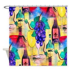 usa - Grape Escape Shower Curtain - Beautiful shower curtains created from my original art work. Each curtain is made of a thick water resistant polyester fabric. The permanently applied art work appears on the front side with the inside being white. 12 button holes for easy hanging, machine washable and most importantly made in the USA. Shower rod and rings not included. Size is a standard 70''x70''