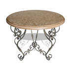 Round Scroll Wrought Iron Accent Table, Distressed Swedish Beige with Scrolls - Round Scroll Wrought Iron Accent Table, Distressed Swedish Beige with Scrolls